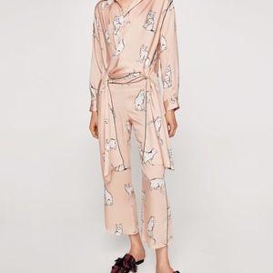 ZARA Pale Pink Cat Print Culottes